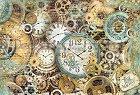 Декупажна хартия - Часовници и зъбни колела - Размери 50 x 35 cm -