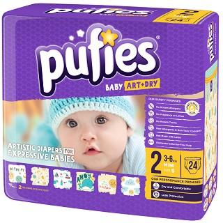 Pufies Baby Art & Dry - Mini 2 - Пелени за еднократна употреба за бебета с тегло от 3 до 6 kg -
