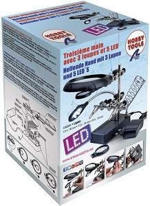 Лупа с 5 светодиодни лампи - Инструмент за сглобяване на модели и макети -