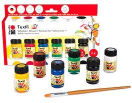 Бои за текстил - Textil - Комплект от 6 цвята по 15 ml -