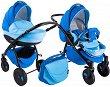 Бебешка количка 2 в 1 - Natural: Light Blue - С 4 колела -