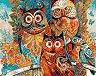 Рисуване по номера - Бухали - Комплект за картина с размери 50 x 40 cm -