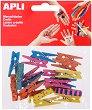 Цветни дървени щипки  за декорация - Комплект от 20 броя