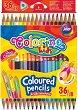 Тристенни двувърхи цветни моливи - Комплект от 36 или 48 цвята -