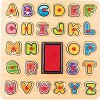 Английска азбука - Дървен пъзел с печати -