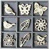 Дървени фигурки - Птици, пеперуди и цветя - Комплект от 45 броя в кутия -