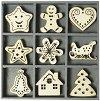 Дървени фигурки - Sweet Xmas - Комплект от 45 броя в кутия -