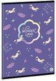Ученическа тетрадка - Wonderland Unicorn : Формат А5 с широки редове - 40 листа -