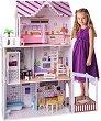 Обзаведена къща за кукли с асансьор - Дървен комплект за игра -