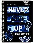 Ученическа тетрадка със спирала - Never Give up Формат A5 с широки редове - тетрадка
