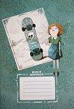 Ученическа тетрадка - Ванилия със скейтборд : Формат A5 с широки редове - 30 листа -