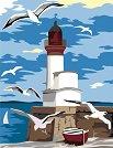 Рисуване по номера с акрилни бои - Морски фар с чайки - Комплект за картина с размери 35 x 45 cm -