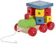 Локомотив - Дървена играчка за дърпане -