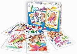 Оцветявай с акварелни бои - Русалки - Творчески комплект за рисуване -