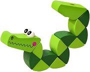Крокодил - Дървена играчка с подвижни елементи - детски аксесоар