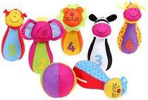 Кегли и топка за боулинг - Животните от джунглата - Детски текстилни играчки - продукт