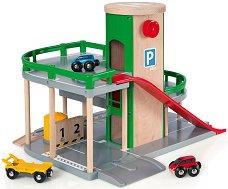 Паркинг на два етажа - Детски дървен комплект с две колички -