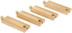 Прави релси за влак - Дървена играчка за разширение на релсов път - играчка