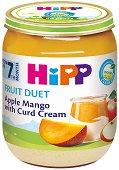 Плодов дует - Био ябълка, манго и извара - Бурканче от 160 g за бебета над 7 месеца -