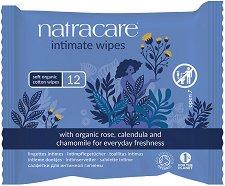 Natracare Intimate Wipes - Интимни мокри кърпички с невен и лайка в опаковка от 12 броя - мокри кърпички