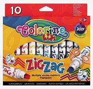 Флумастери със зиг-заг писец - Комплект от 10 цвята