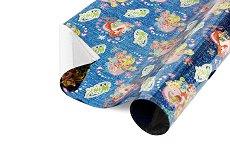 Син опаковъчен лист за детски подаръци - Winx