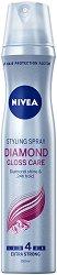 """Nivea Diamond Gloss Styling Spray - Лак за коса за блясък с екстра силна фиксация от серията """"Diamond Gloss"""" - гребен"""