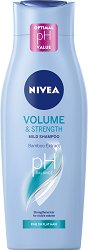 """Nivea Volume & Strength Mild Shampoo - Шампоан за обем от серията """"Volume"""" - острилка"""