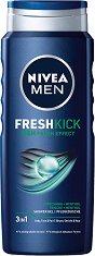 """Nivea Men Cool Kick Shower Gel - Душ гел за мъже за лице, коса и тяло с ментол от серията """"Cool Kick"""" -"""
