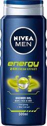 Nivea Men Energy Shower Gel - Енергизиращ душ гел за мъже за лице, коса и тяло с ментол -