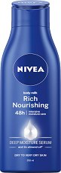 Nivea Rich Nourishing Body Milk - Подхранващо мляко за тяло с бадемово масло за суха кожа - серум