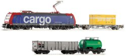 Товарен влак с електрически локомотив - BR 185 Cargo - Стартов комплект с аксесоари -