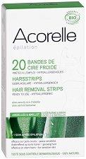 Acorelle Hair Removal Cold Wax Strips - Комплект от 20 броя епилиращи ленти за бикини зона и подмишници - крем