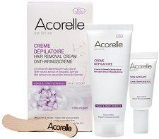 Acorelle Hair Removal Cream - Комплект от крем депилатоар за лице и успокояващ крем с натурални масла - гел