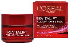 """L`Oreal Revitalift Face, Contours and Neck Re-Support Cream - Крем за възстановяване контура на лицето и шията от серията """"Revitalift"""" - балсам"""