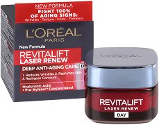 "L'Oreal Revitalift Laser Renew Deep Anti-Ageing Care Day Cream - Дневен крем против бръчки от серията ""Revitalift Laser Renew"" - четка"