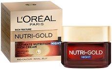 """L'Oreal Nutri-Gold Rich Night Cream - Възстановяващ нощен крем за суха кожа от серията """"Nutri-Gold"""" - тоалетно мляко"""