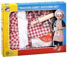 Детска готварска униформа - Малкият готвач - Комплект от престилка, шапка, ръкавица, точилка и готварски формички -
