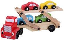 Автовоз с колички - Дървена играчка - творчески комплект