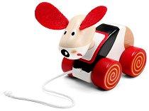 Кученце - Дървена играчка за дърпане - играчка