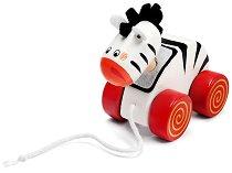 Зебра - Дървена играчка за дърпане - играчка