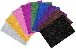 Листове EVA пяна с брокат - различни цветове - Комплект от 10 броя