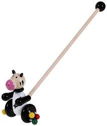 Кравичка - Дървена играчка за бутане - играчка