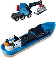 Товарен кораб и кран - Детски дървени играчки -