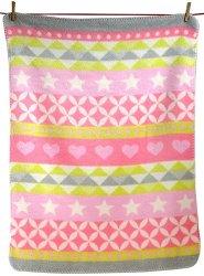 """Бебешко одеяло - Сърчица и звездички: розов нюанс - Размер 75 x 100 cm от серия """"Niki"""" - продукт"""