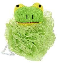 Детска мрежеста гъба за баня - Жабче - крем