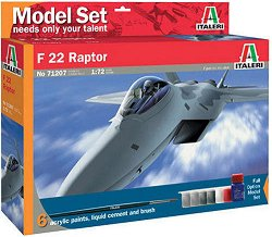 Американски многоцелеви изтребител - F-22 Raptor - Сглобяем модел - комплект с лепило и бои - макет
