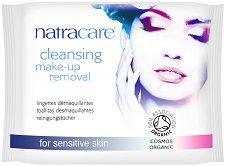 Natracare Cleansing Make-Up Removal - Мокри кърпички за почистване на грим с био етерични масла в опаковка от 20 броя - мокри кърпички