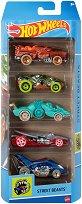 Hot Wheels - Street Beasts - Комплект от 5 метални колички - кукла