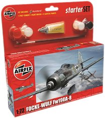 Военен самолет - Focke-Wulf Fw190A-8 - Сглобяем модел - комплект с лепило и бои - макет
